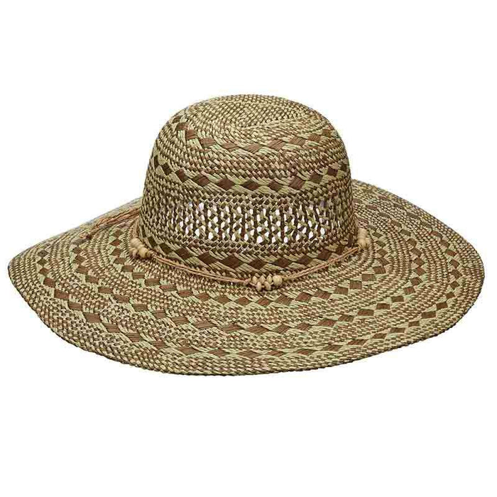 Criss-Cross Woven Two Tone Toyo Summer Floppy Hat - Scala Pronto - SetarTrading Hats