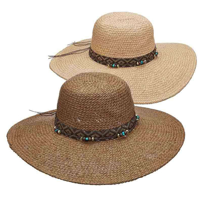 Woven Toyo Floppy Hat with Metallic Band and Beads - Scala Pronto