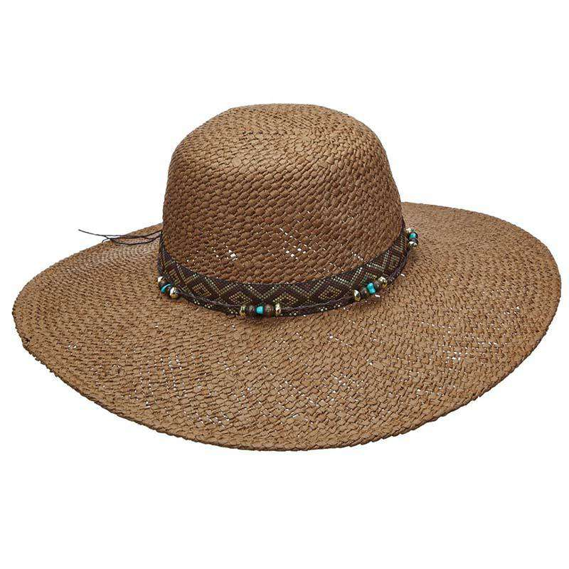 8daea6eb459 Woven Toyo Floppy Hat with Metallic Band and Beads - Scala Pronto
