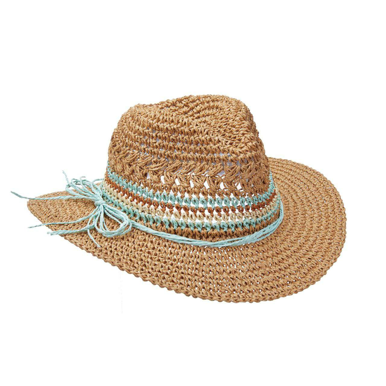 Crocheted Straw Fedora with Multi Color Band - SetarTrading Hats