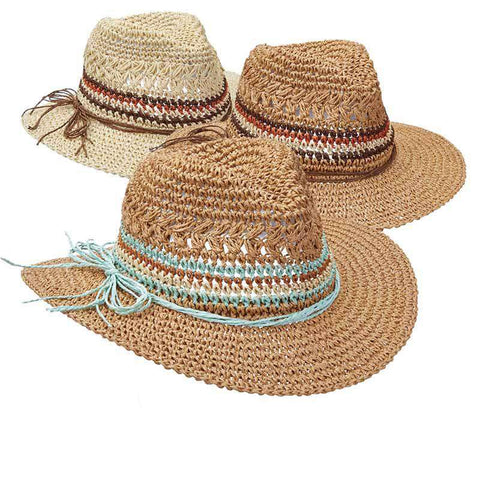 Crocheted Straw Fedora with Multi Color Band