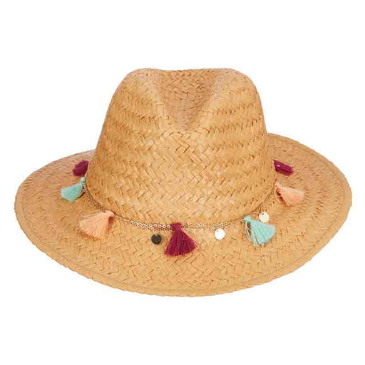 LT197 safari hat with colorful tassels scala collezione women's hats