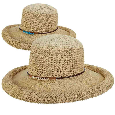 Rolled Brim Toyo Straw Hat with Stone Accented Tie by Scala Pronto