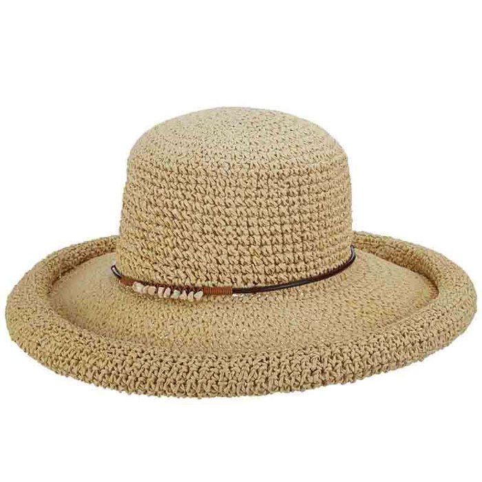 f83abee0aabf0a Rolled Brim Toyo Straw Hat with Stone Accented Tie by Scala Pronto ...