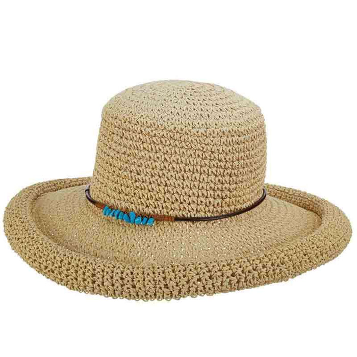 18dcd00867bee8 Rolled Brim Toyo Straw Hat with Stone Accented Tie by Scala Pronto —  SetarTrading Hats
