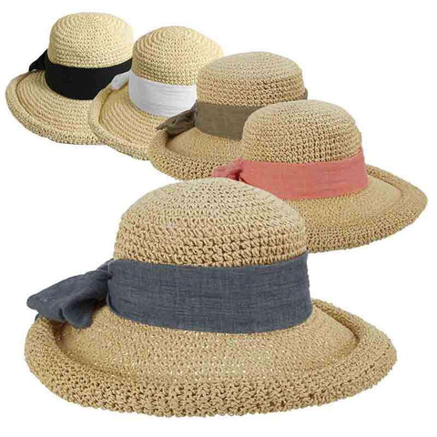Rolled Brim Toyo Straw Hat with Gauze Tie by Scala Pronto