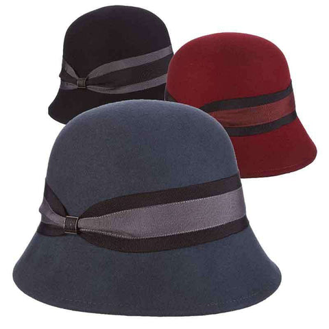 Wool Felt Cloche Hat with Double Ribbon Band by Callanan