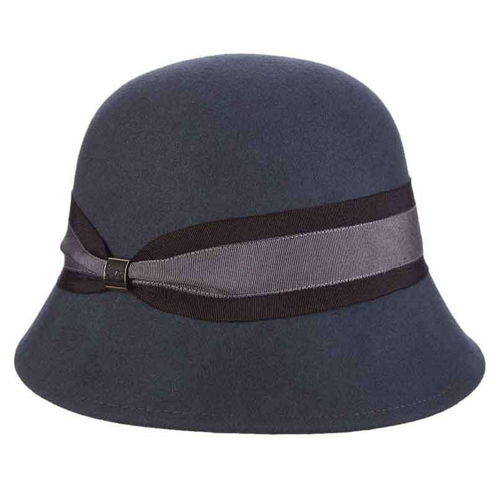 b4ab41a75ef Wool Felt Cloche Hat with Double Ribbon Band by Callanan — SetarTrading Hats