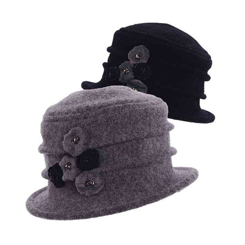 Boiled Wool Pleated Beanie with Rosette - Scala