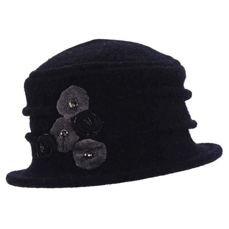 Boiled Wool Pleated Beanie. Black. Small cloche style hat with pleated crown.