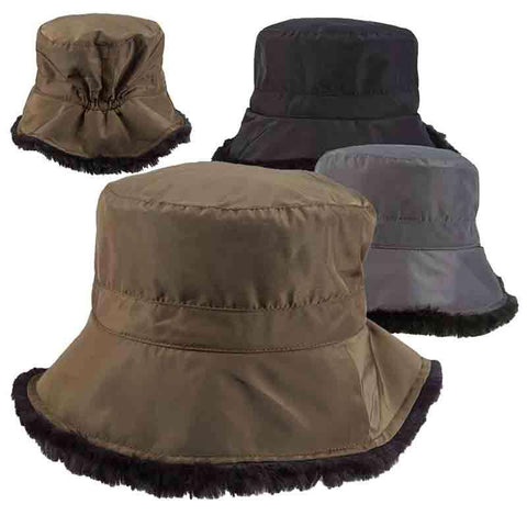 Faux Fur Lined Winter Cloche Hat - Scala Collezion