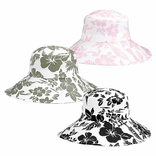 Ladies' Wide Brim Hibiscus Print Bucket Hat - Mega Cap