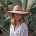 Large Brim Palm Leaf Safari Hat, 2XL - JSA. Women wearing wide brim sun hat. Palm leaf sun hats are sun protective.