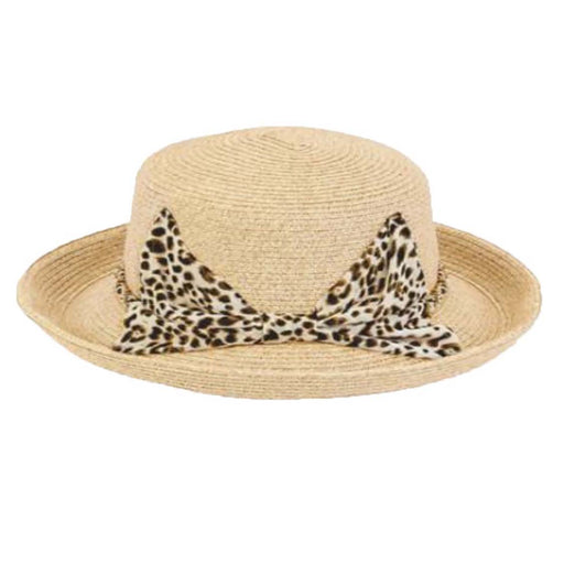Large Heads Classy Up Brim Hat with Chiffon Leopard Tie - Sun'N'Sand®