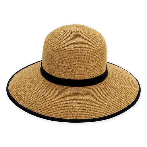 Large Size Women's Hats: Contrast Trim Facesaver Hat - Sun'N'Sand®