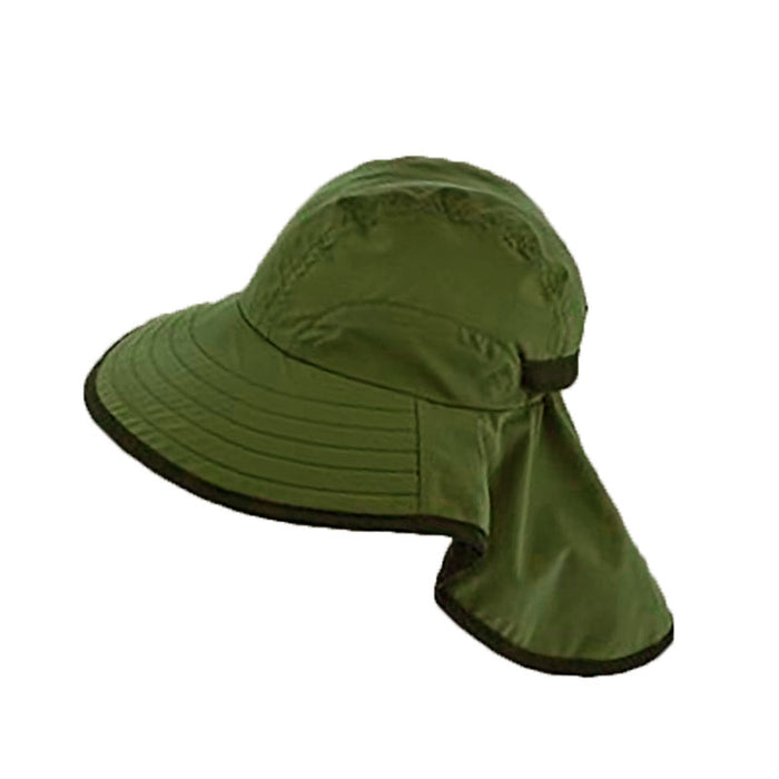 Large bill cap with neck cap for kids and for small head size women army green
