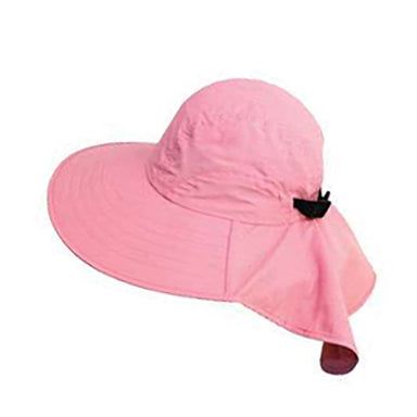 Large bill cap with neck cap for kids and for small head size women pink sun protection