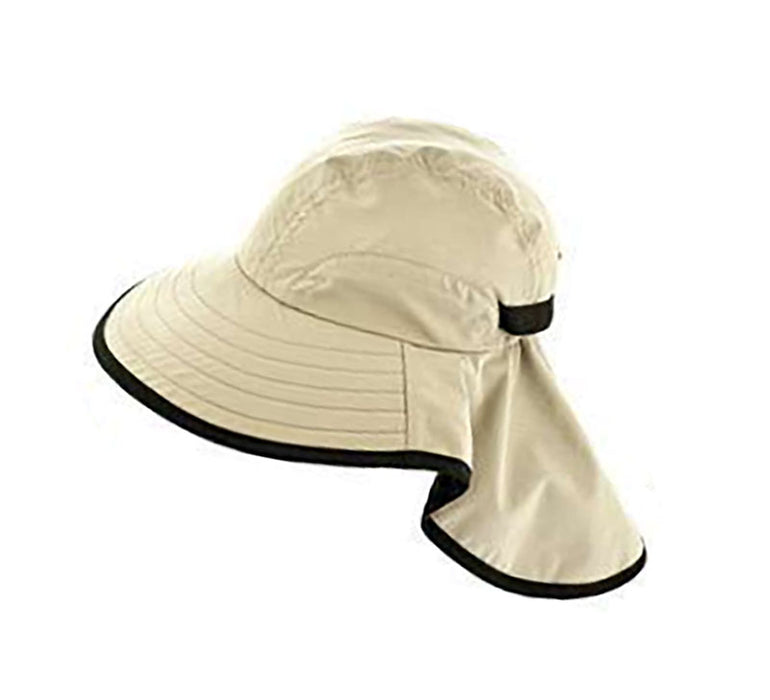 Large bill cap with neck cap for kids and for small head size women tan sun protection