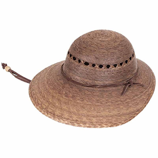 Laurel Burnt Palm Leaf Asymmetrical Brim Lattice Crown Sun Hat - Tula Hats