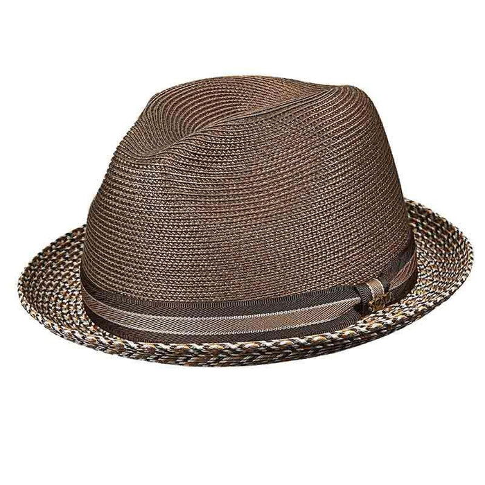 Polybraid Fedora with Multi Color Brim - Scala Hats