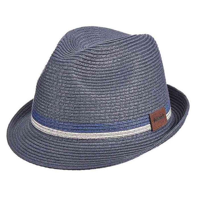 Navy Braid Fedora with Two Tone Inline Band - Scala Hats for Men
