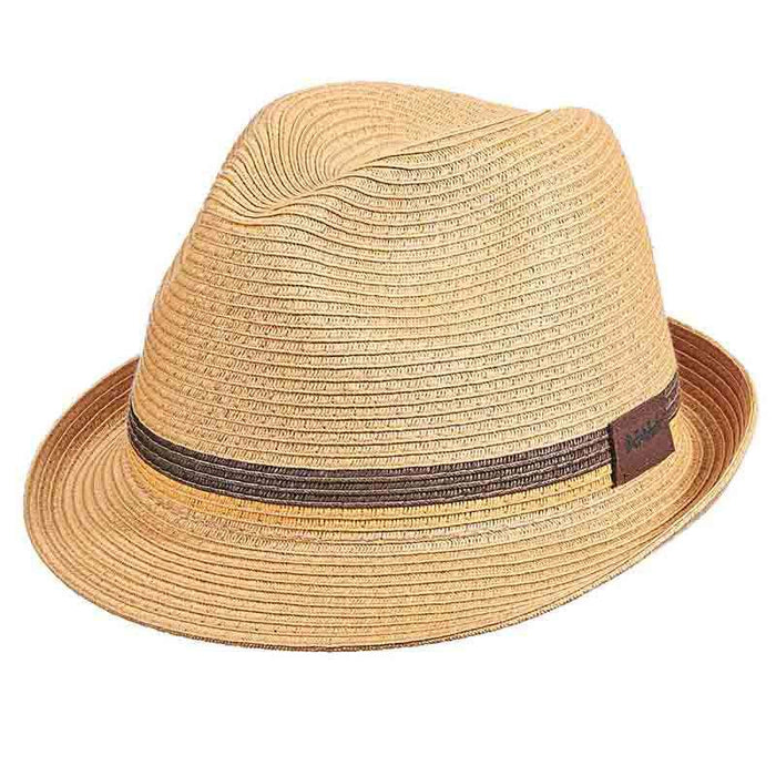 Natural Braid Fedora with Two Tone Inline Band - Scala Hats for Men