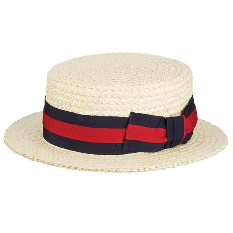 Braided Laichow Boater with Red and Navy Band - Scala - SetarTrading Hats