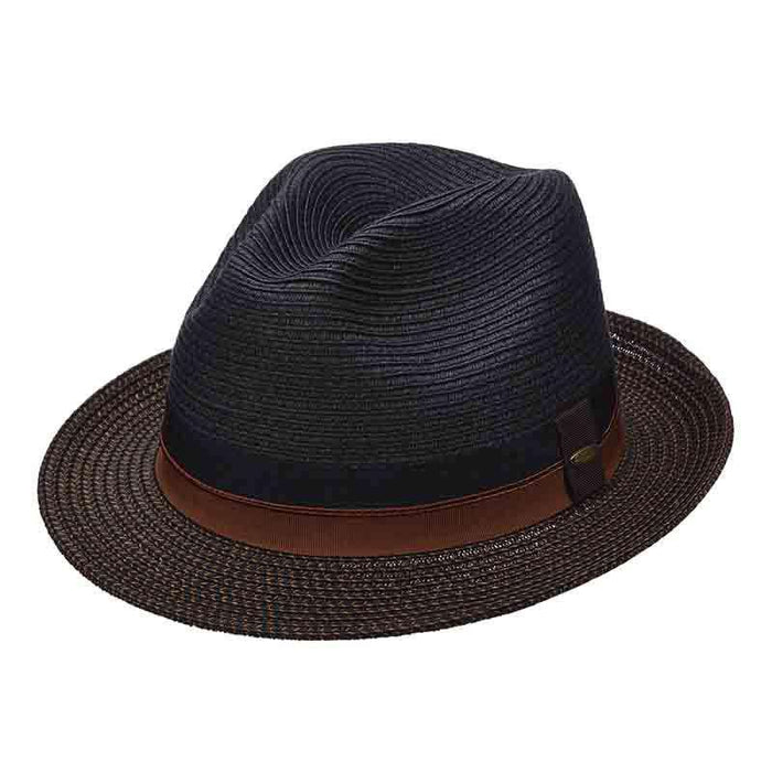 4cc3b598e13889 Black Fedora with Tweed Brim for Men - Scala Classic Men's Straw ...