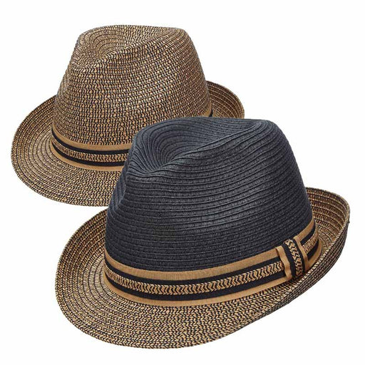 Jitney Two Tone Tweed Brim Straw Fedora by DPC Global