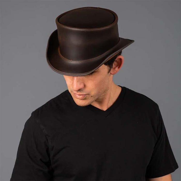 Marlow Leather Top Hat In Its Simple Beauty, Brown - Steampunk Hatter
