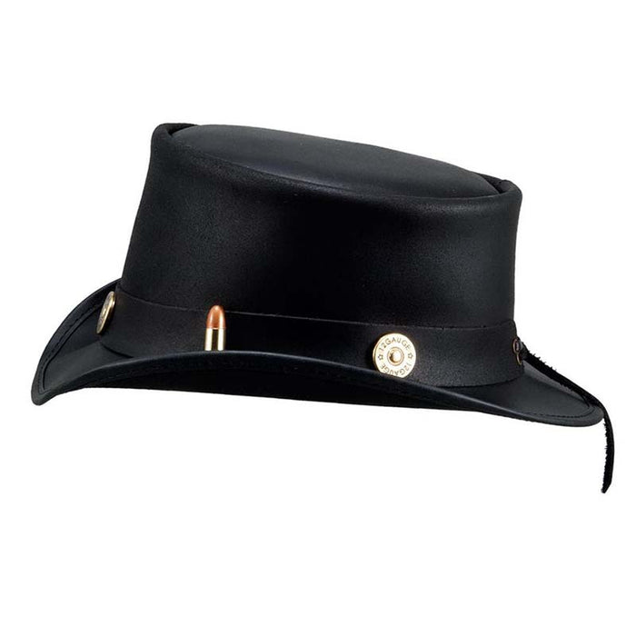 Marlow Leather Top Hat with Bullet Band - Steampunk Hatter