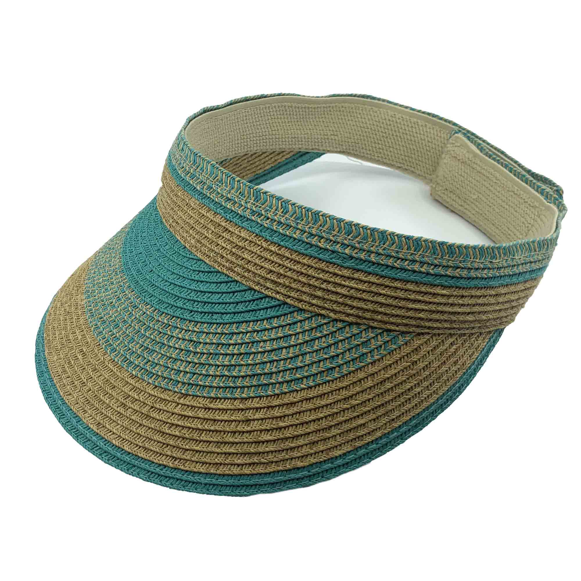 Multicolor Striped Straw Sun Visor - Jeanne Simmons Accessories
