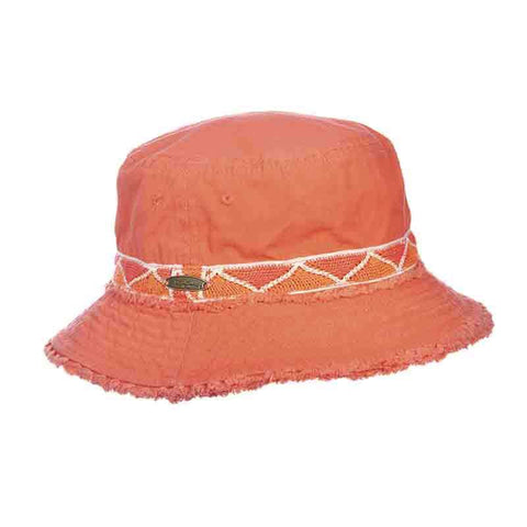 Cotton Bucket Hat with Frayed Brim - Panama Jack
