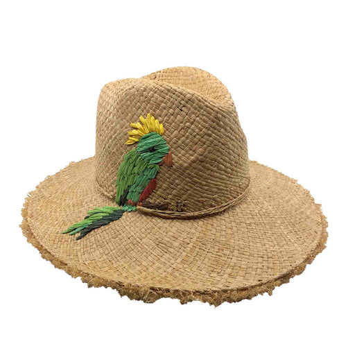Parakeet Raffia Safari Hat with Frayed Brim - Cappelli Straworld