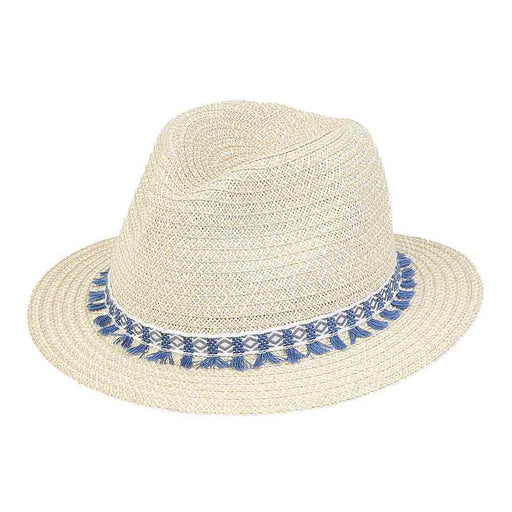 Petite Size Safari hat with Blue Woven Tassel Band - Sunny Dayz™