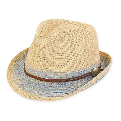 Petite Size Straw Fedora Hat with Denim Look Brim - Sunny Dayz™