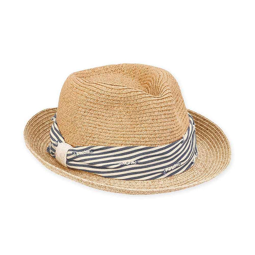 Petite Size Straw Fedora Hat with Striped Nautical Band - Sunny Dayz™