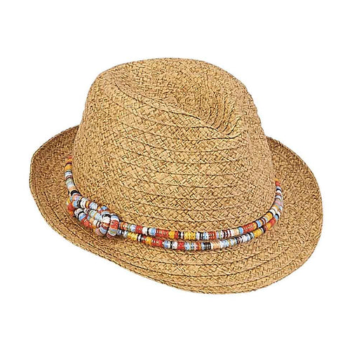 Petite Size Woven Straw Fedora Hat with Colorful Band - Sunny Dayz™