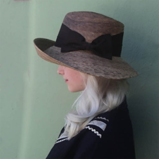 Pilar Burnt Palm Leaf Asymmetrical Turned Up Front Hat - Tula Hats