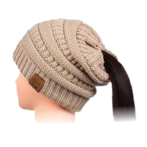 Ponytail women knit slouchy winter beanie khaki