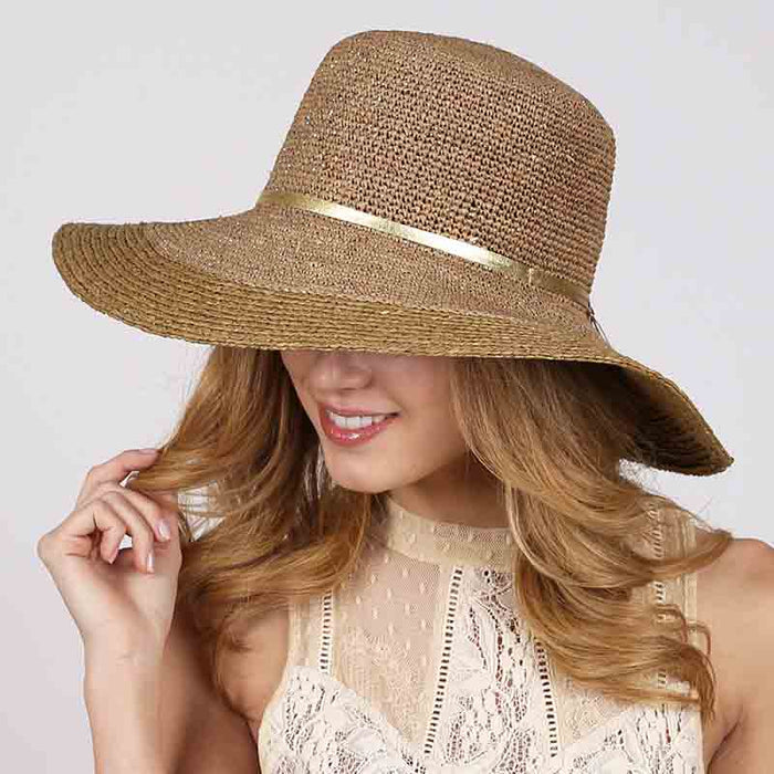 Large Raffia Crochet Beach Hat with Gold Tie