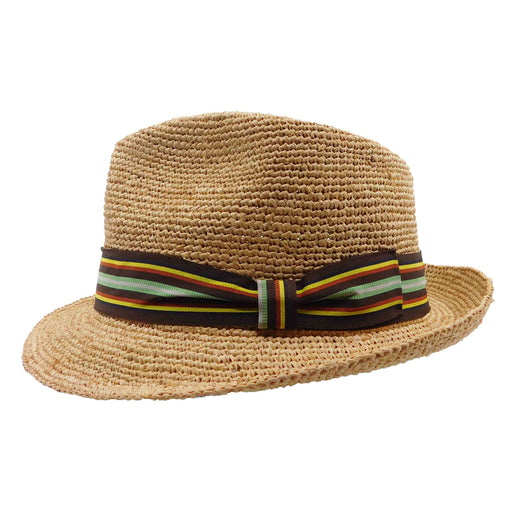 Raffia Fedora with Striped Band - Brooklyn Hat Co