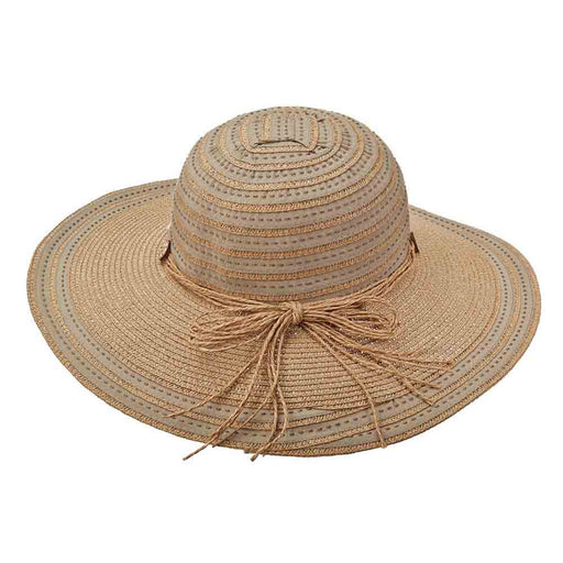 Ribbon and Straw Striped Crown Sun Hat - Tropical Trends