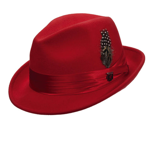 Stacy Adams Snap Brim Fedora - Red