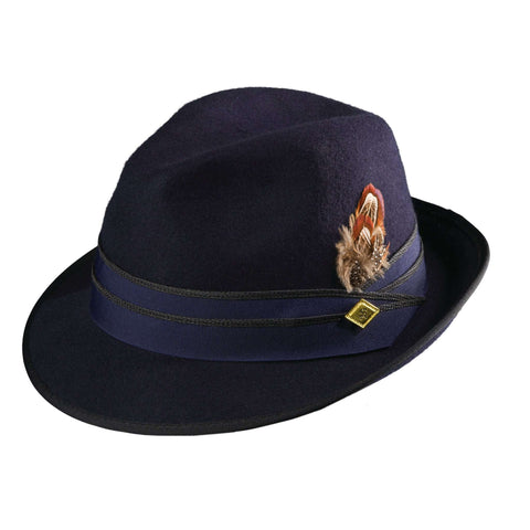 Stacy Adams Snap Brim Navy Fedora