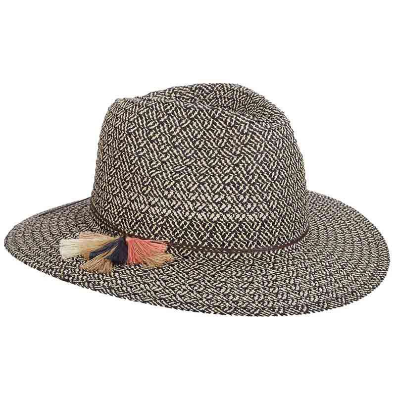 Criss Cross Woven Safari Hat with Tassels - Scala
