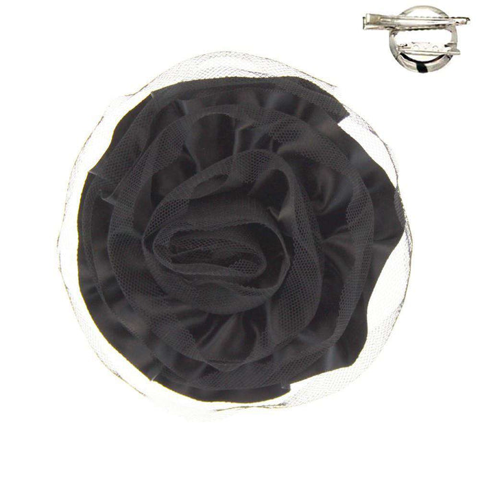 Satin Rose Fascinator-Brooch - SetarTrading Hats
