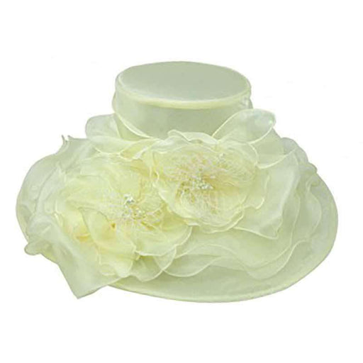 Organza Hat with Multi Layer Flowers