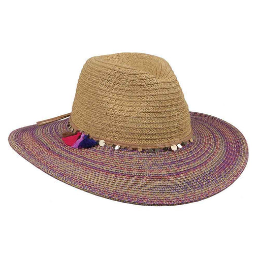 Safari Hat with Colorful Brim and Tassels - Karen Keith Hats