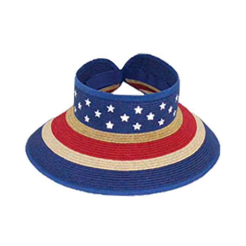Small Heads American Flag Roll Up Sun Visor - Jeanne Simmons Hats